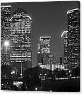 Houston Skyline At Night Black And White Bw Canvas Print
