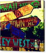 How Far Is It To Key West Canvas Print