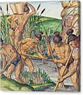 How The Indians Collect Gold From The Streams Canvas Print