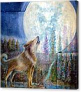 Wolf Howling And Full Moon Canvas Print