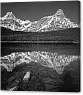 1m3643-bw-howse Peak Mt. Chephren Reflect-bw Canvas Print