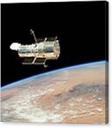 Hubble  Telescope  In  Orbit  Above  Earth Canvas Print
