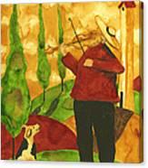 Hubbs Art Folk Prints Whimsical Animal Dogs Pet Music Instrument Fiddler Violin Canvas Print