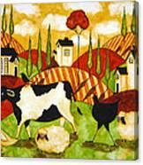 Hubbs Children Art Folk Prints Farm Animals Cow Sheep Goose Chicken Hen Bird Canvas Print