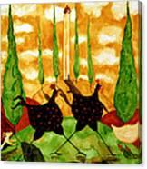 Hubbs Children Art Folk Prints Whimsical Farm Animals Dog Hen Chicken Chase Canvas Print