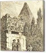 Hubert Robert, French 1733-1808, The Sarcophagus Canvas Print