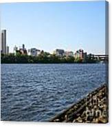 Hudson River And Albany Skyline Canvas Print