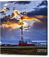 Sunset Over The Oil Rigs Canvas Print