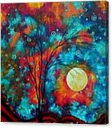 Huge Colorful Abstract Landscape Art Circles Tree Original Painting Delightful By Madart Canvas Print