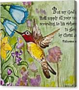 Humming Bird- Philipians Canvas Print