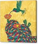 Hummingbird And Prickly Pear Canvas Print