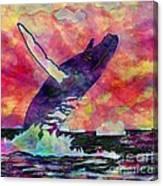 Humpback Whale Digital Color Canvas Print