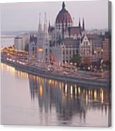 Hungarian Parliament At Sunrise Canvas Print