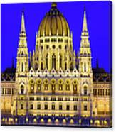 Hungarian Parliament At Twilight Canvas Print