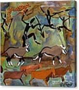 Hunters And Gemsbok Rock Art Canvas Print