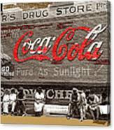 Hunter's Drug Store Coca-cola Mural Greensboro Georgia Marion Post Wolcott Fsa Spring 1939-2014  Canvas Print
