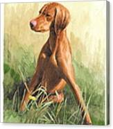 Hunting Dog Puppy Watercolor Portrait Canvas Print