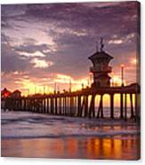 Huntington Beach Pier Sunset Canvas Print