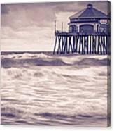 Huntington Beach Retro Canvas Print