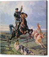 Huntsman With The Borzois Canvas Print