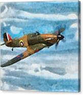 Hurricane Fighter Watercolour Canvas Print