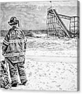 Hurricane Sandy Black And White Canvas Print