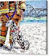 Hurricane Sandy Fireman And Dog  Canvas Print
