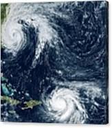 Hurricanes Maria And Jose Canvas Print