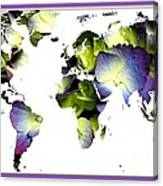 Hydrangea World Map Canvas Print