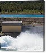 Hydro Power Station Dam Open Gate Spillway Water Canvas Print