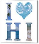 I Heart Hawaii On White Canvas Print