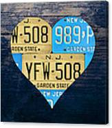 I Heart New Jersey State Love Recycled Vintage License Plate Art Canvas Print