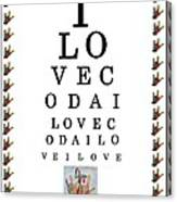 I Love Coda Eye Chart Canvas Print