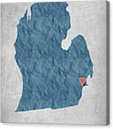 I Love Detroit Michigan - Blue Canvas Print