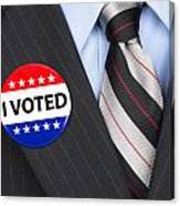 I Voted Pin On Lapel Canvas Print