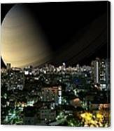 Iapetus City Saturn Canvas Print