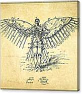 Icarus Flying Machine Patent Drawing-vintage Canvas Print
