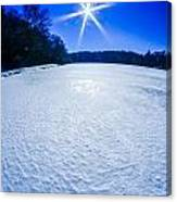 Ice And Snow Frozen Over Lake On Sunny Day Canvas Print