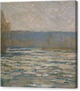 Ice Breaking Up On The Seine Canvas Print