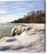 Ice Covered Shores Of Lake Michigan Canvas Print