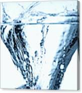 Ice Cube Splashing Into Water Canvas Print