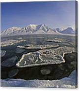 Ice Floes And Mountains Svalbard Norway Canvas Print
