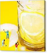 Ice Making For Lemonade Little People On Food Canvas Print
