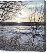 Ice On The Saco River Canvas Print
