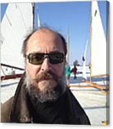 Ice Sailing On The Hudson Beard Contest Canvas Print