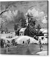 Ice Skating, 1880 Canvas Print