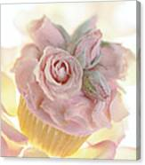 Iced Cup Cake With Sugared Pink Roses Canvas Print
