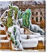 Iced Swann Fountain Canvas Print