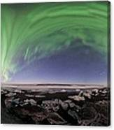 Iceland Aurora Beach Panorama Canvas Print