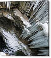Icicles Hanging In Rocky Gorge In Cold Winter Canvas Print